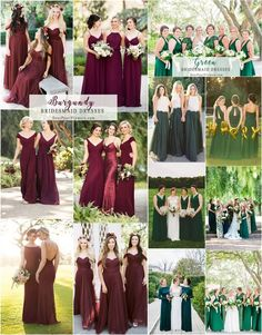 Burgundy and greenery bridesmaid dresses#weddings #dresses #weddingideas #bridesmaids ❤️ http://www.deerpearlflowers.com/bridesmaid-dress-trends-for-2018/