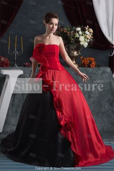 Red/ Black Satin Strapless Plus Sizes Sleeveless Ball Gown Prom Dresses -Wedding & Events-Special Occasion Dresses-Prom Dresses