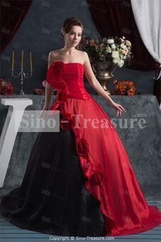 Red Black Satin Strapless Plus Sizes Sleeveless Ball Gown Prom
