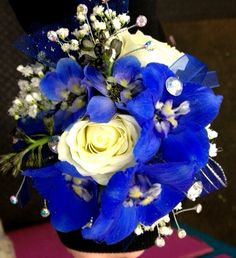 Dill's True Blue Delphinium and Rose Wrist Corsage - royal blue - rhinestones - glitter - roses - jewels - silver - prom