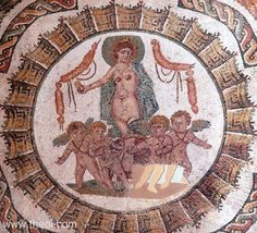 Ancient Greek & Roman Mosaic: Aphrodite & the Erotes Museum Collection: Bardo Museum, Tunis, Tunisia Type: Mosaic Date: C4th AD Period: Imperial Roman  SUMMARY  The goddess Aphrodite crowned with a halo, drives a chariot drawn by four winged Erotes (love gods).