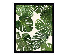 Tableau PALM LEAVES, vert et blanc - 40*50