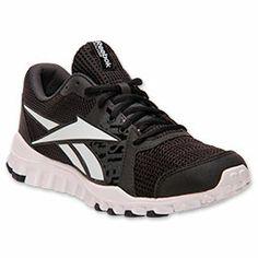 Men's Reebok RealFlex Advance Running Shoes| FinishLine.com | Black/White