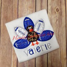 Football Turkey embroidered shirt make it a boy or girl any team colors! on Etsy, $25.00