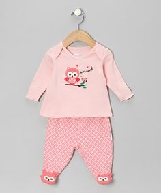Take a look at this Vitamins Baby Pink 'Whoo's Sleepy' Footie Pajama Top & Bottoms on zulily today!