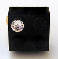 Black LEGO (R) brick 2x2 with a Diamond color SWAROVSKI crystal on a Silver/Gold plated adjustable ring finding
