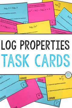 I like how this task card set asks students to expand and condense expressions using log properties and solve equations requiring the properties of logarithms. Mix-and-match is great! Algebra 2 Activities, Algebra 2 Worksheets, Math, Log Properties, Logarithmic Functions, Small Group Activities, Task Cards, Lesson Plans, Keys