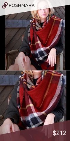 "Tartan Blanket plaid scarf check shawl oversized Brand New without tags. Retail item. Soft, cozy and warm. Red, navy black combo Tartan Blanket Plaid scarf wrap shawl checked. Very stunning and classic. So many ways to wear it. 👉Material : 100% Acrylic. Measurement : 60""x 55"" Accessories Scarves & Wraps"