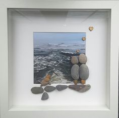Pebble art, couple art, dog art, beach picture, dog picture frames, beach frame, holiday, anniversary gift, couples portrait, beach decor by CoastalPebblesShop on Etsy