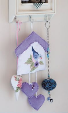 Designed and stitched by Filiz Türkocağı.cute idea of a way to display your bird and flower cross stitch! Cross Stitching, Cross Stitch Embroidery, Cross Stitch Patterns, Cross Stitch Love, Cross Stitch Animals, Easter Crafts, Felt Crafts, Felt Wall Hanging, Fabric Hearts