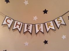 Cheers Banner-Black-White-Gold by WithLovebyTwoSisters on Etsy