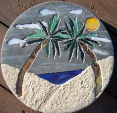 Stained glass stepping stones google search mosiacs stained stained glass mosaic garden stepping stone with palm trees beach scene 3500 via etsy pronofoot35fo Images