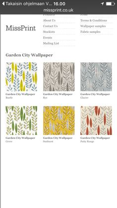 http://www.missprint.co.uk/wallpaperrange.php?Name=Garden%20City Tapettikauppa.net