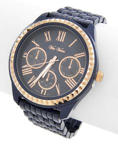 Rose Gold Tone / Blue / Lead&nickel Compliant / Metal Stainless Steel Back / Deployant Clasp / Watch