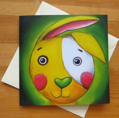 Fine Art Greeting Card Yellow Rabbit Easter Bunny Square #painting #animal #bunny #card #postcard #greetingcard
