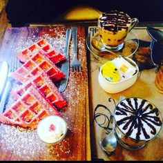 Just the right breakfast to make friDAY friYAY!!  In the pic : Red velvet waffles with mocha coffee