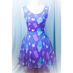 Sugar Pop Novelty Ice Cream Printed Skater Dress Fairy Kei Pastel Goth... (200 BRL) ❤ liked on Polyvore featuring dresses