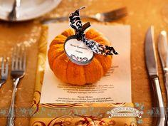 Hana & Ryan use mini pumpkins as table place card for their fall wedding.  Photo by: FRP