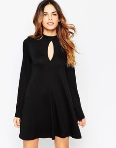 ASOS | ASOS Swing Dress with Flared Sleeve and Keyhole at ASOS