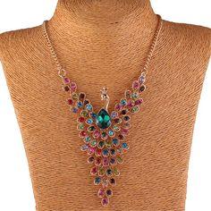 Colorful Peacock Bird Rhinestone Beaded Wing 18K Gold Y Bib Collar Necklace