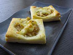 Pear, walnut, gorgonzola puff pastry bites.