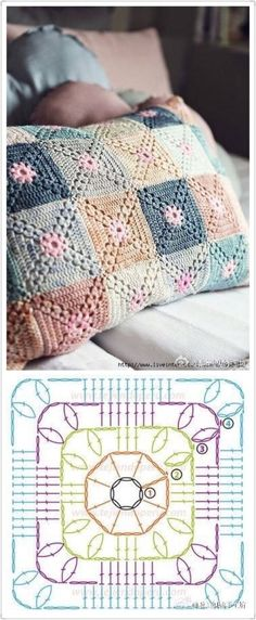 Very pretty Crochet Pillow. This is not in English, but the crochet diagram should be sufficient. Discover thousands of images about Crochet granny square baby blanket pillow cushion afghan throw blanket Crochet fabric is a very popular option for li Motifs Granny Square, Granny Square Crochet Pattern, Crochet Blocks, Crochet Diagram, Crochet Chart, Crochet Squares, Crochet Stitches, Thread Crochet, Crochet Home