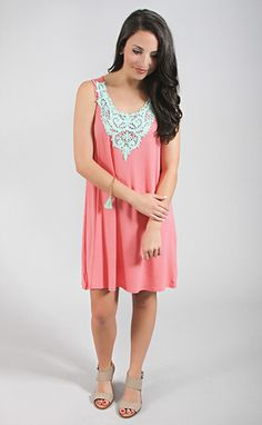 cotton candy lover embroidered tank dress - pink | ShopRiffraff.com