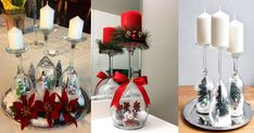 Christmas Scenes Inside of Crystal Glasses. Use translation. Christmas Scenes, Christmas Time, Xmas, Holiday, Christmas Ideas, Christmas Crafts For Adults, Christmas Decorations, Table Decorations, Diy Projects To Try