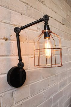Wire Cage Swing Arm Wall Light. Single Or Two Arm Available - Fat Shack Vintage - Fat Shack Vintage