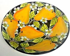 "Blue Sky Clayworks Icing on the Cake J.McCall Pear Dogwood Centerpiece 13"" Bowl"