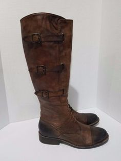 d8fffc08b06 VINCE CAMUTO Distressed Brown Leather Knee High Zip Riding Boots Size 5.5 B