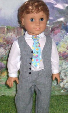 Easter Shirt, Vest, Pants, and Tie for American Boy Doll Ag Dolls, Girl Dolls, American Boy Doll, 18 Inch Boy Doll, Boy Doll Clothes, Shirt Vest, Boys Suits, Glamour, Barbie And Ken
