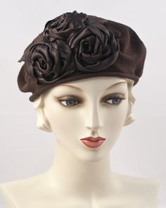 Cotton beret trimmed with 3 variegated silk ribbon roses & silk velvet leaves