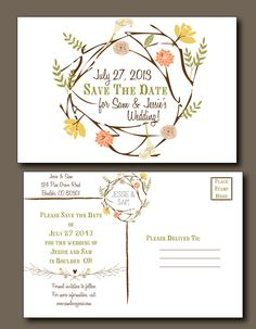Save the Date Postcard -  Spring Wedding, Summer Wedding, Rustic Wedding, Bohemian Wedding, Indie Style. $2.50, via Etsy.