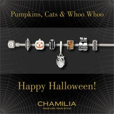Chamilia Halloween available at Rotunda Jeweler's Chamilia Jewelry, Pandora Jewelry, Magic Charms, Jewelry Tools, Halloween Pumpkins, Swarovski Crystals, Diamond Earrings, Chain Reaction, White Gold