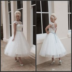 Wholesale Bridal Sashes - Buy 2014 Vintage Beach Lace Wedding Dress Vestido Inspired by Mooshki Bridal A-Line Bateau Cutout Back Silver Bow Sash Applique Lace Tea Length, $105.79 | DHgate.com