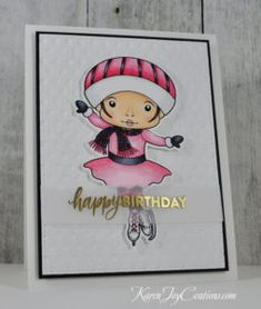 Handmade Birthday Card with La-La Land Crafts Figure Skater Marci Digi Stamp and Simon Says Stamp Brush Stroke Messages