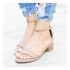 Taupe Low Block Heel Sandals
