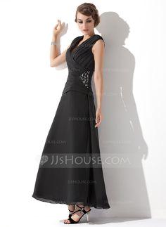 A-Line/Princess V-neck Ankle-Length Ruffle Beading Zipper Up Cap Straps Sleeveless No Black Spring Fall General Plus Chiffon Mother of the Bride Dress