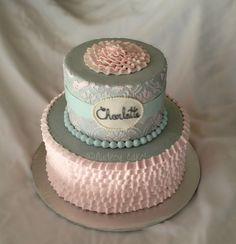 Vintage Damask Pastel Ruffle Baby Shower Cake   Flickr - Photo Sharing!