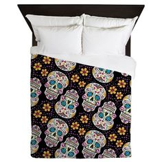 Day of The Dead Sugar Skull, BLACK Queen Duvet on CafePress.com