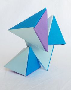 Casse tête Magnet Petit format en Origami: Les Tétraèdres magnétiques, bleu pastel, menthe glacée et lavande