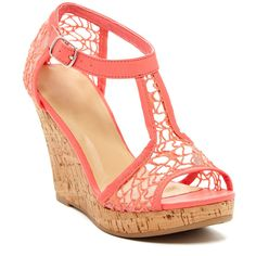 Kiss & Tell Kealie Lace Wedge (1.135 RUB) ❤ liked on Polyvore featuring shoes, sandals, wedges, heels, coral, wedges shoes, wedge heel shoes, platform sandals, wedge sandals and heeled sandals
