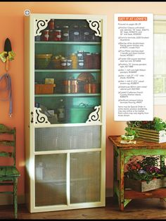 One of my fav DIYs, build a pantry w/ screen door - click through for Lowes project shopping list. http://www.lowes.com/creative-ideas/kitchen-and-dining/freestanding-kitchen-pantry/project