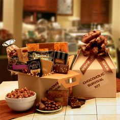 The Chocoholic's Survival Kit = Chocolate, chocolate and more chocolate! Every Chocoholic needs this kit to survive! Please send it now, today and stop the cravings.  WWW.LEEANNA.LABELLABASKETS.COM  #WeGiveBack #LeeannasLaBellaBaskets #giftstore #giftshop #personalizedgifts #freepersonalization #flowers #freshflowers #freshflowerbouquets #candles #cookiebouquets #plantablegreetingcards #giftbaskets #petgifts #giftsforpets  #GiftTowers #wine #winegifts #gifts #birthdaygifts #birthdays…