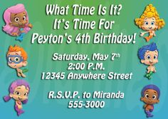 Bubble Guppies Photo Birthday Invitation - Digital File - You Print. $5.99, via Etsy.  Birthday party idea