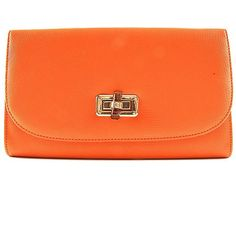 Orange Messenger Envelope Gold Chain Strap Clutch Bag