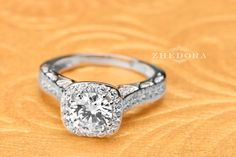 2.70 CT Engagement Ring Round Cut halo 14k SOLID White by Zhedora