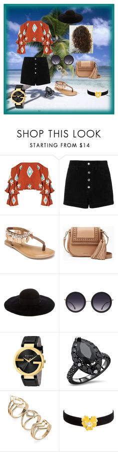 """""""Tropics"""" by alexis-kitten ❤ liked on Polyvore featuring Mochi, rag & bone/JEAN, Penny Loves Kenny, Kate Spade, Eugenia Kim, Alice + Olivia, Gucci and Kenneth Jay Lane"""