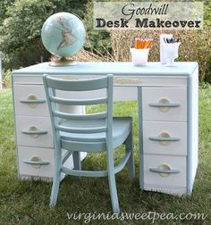Goodwill Desk Makeover - This desk originally came from Sears prior to 1969.  It looks snazzy now that it has received a makeover.  virginiasweetpea.com  #decoartprojects